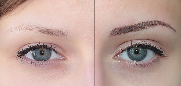 фото татуаж бровей волосковый метод до и после