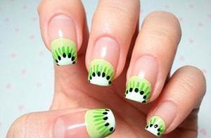 Квадратные ногти «киви»