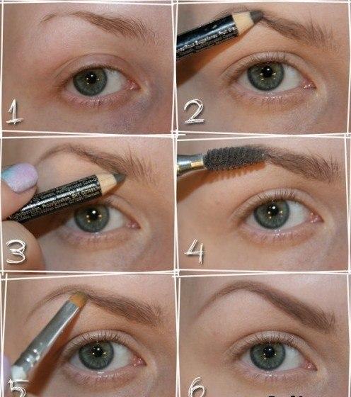 Как правильно красить пошагово брови тенями: фото этапов.
