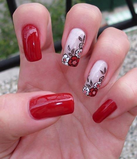 Дизайн ногтей красный цвет