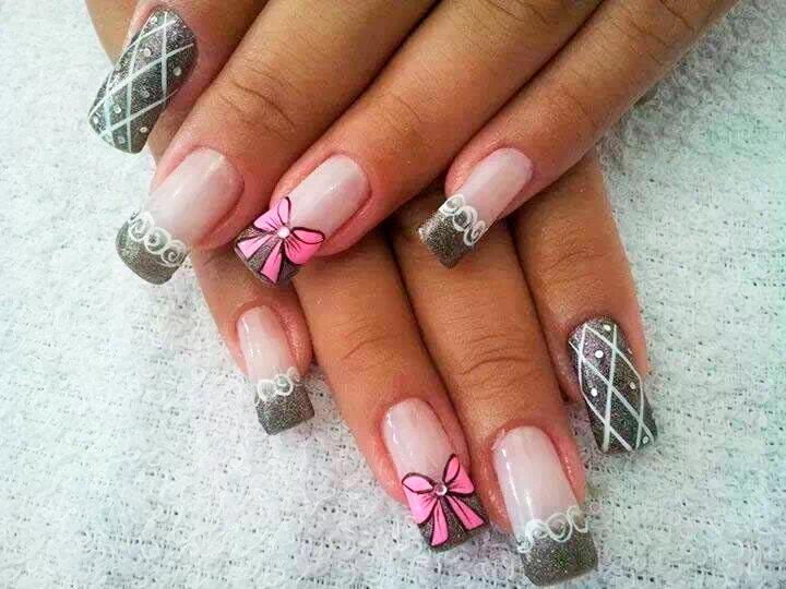 Дизайн ногтей черного и розового цвета фото