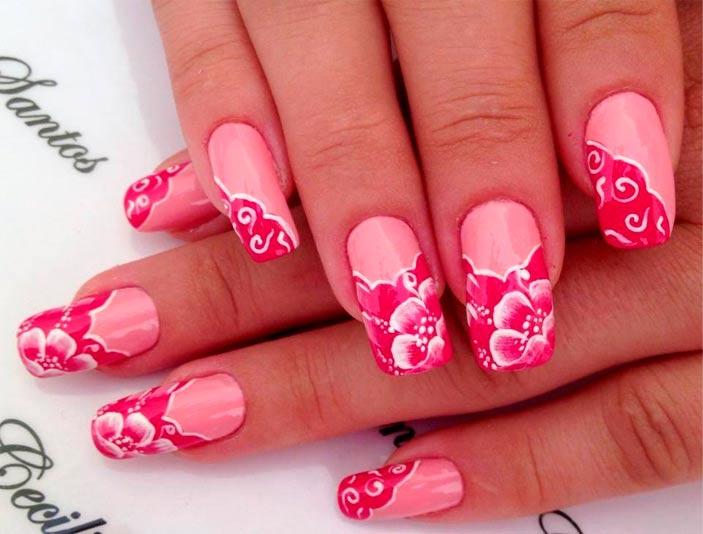 гель-лак цветы розовые фото