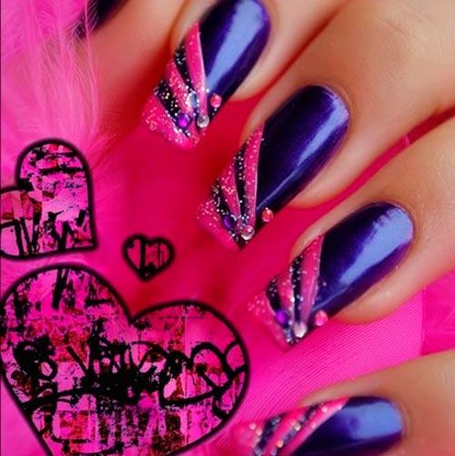 фиолетовый и розовый nail дизайн
