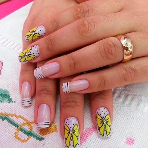 желтые бантики модный дизайн ногтей