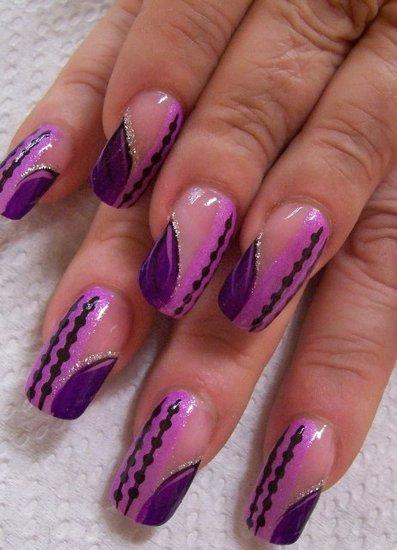 Акварельный дизайн маникюра для нарощенных ногтей