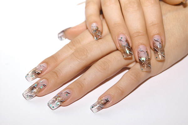 Аквариумный дизайн для нарощенных ногтей