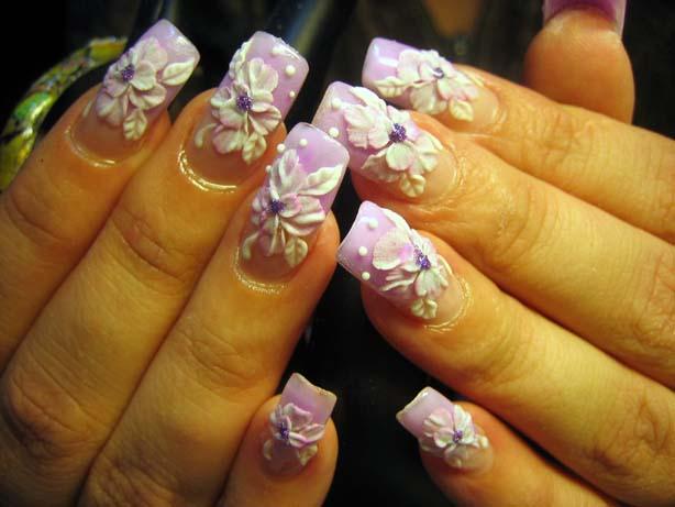 дизайн фиолетовой акриловой лепки