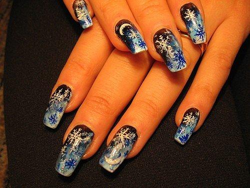 Дизайн маникюра для нарощенных ногтей в новогоднем стиле