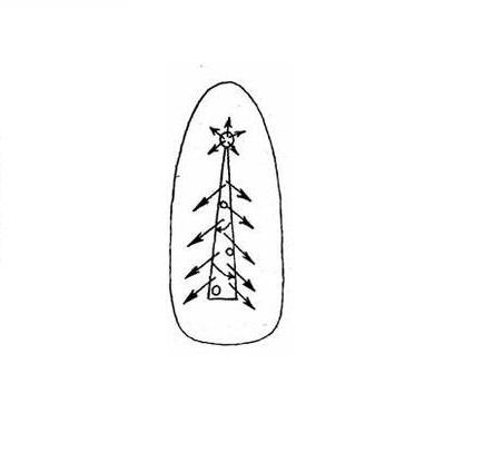 Схема рисования иголкой на ногтях «Новогодняя елочка»