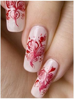 дизайн иголкой на ногтях