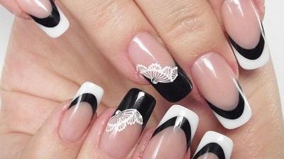 кружева на черно-белых ногтях