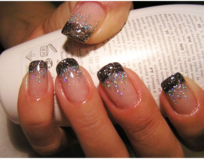 Френч на ногтях золото и серебро 36