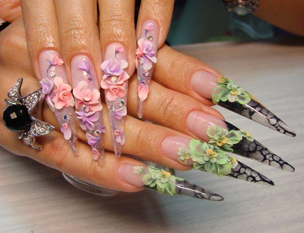 сложная акриловая лепка на ногтях