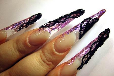 сверкающие острые акриловые ногти