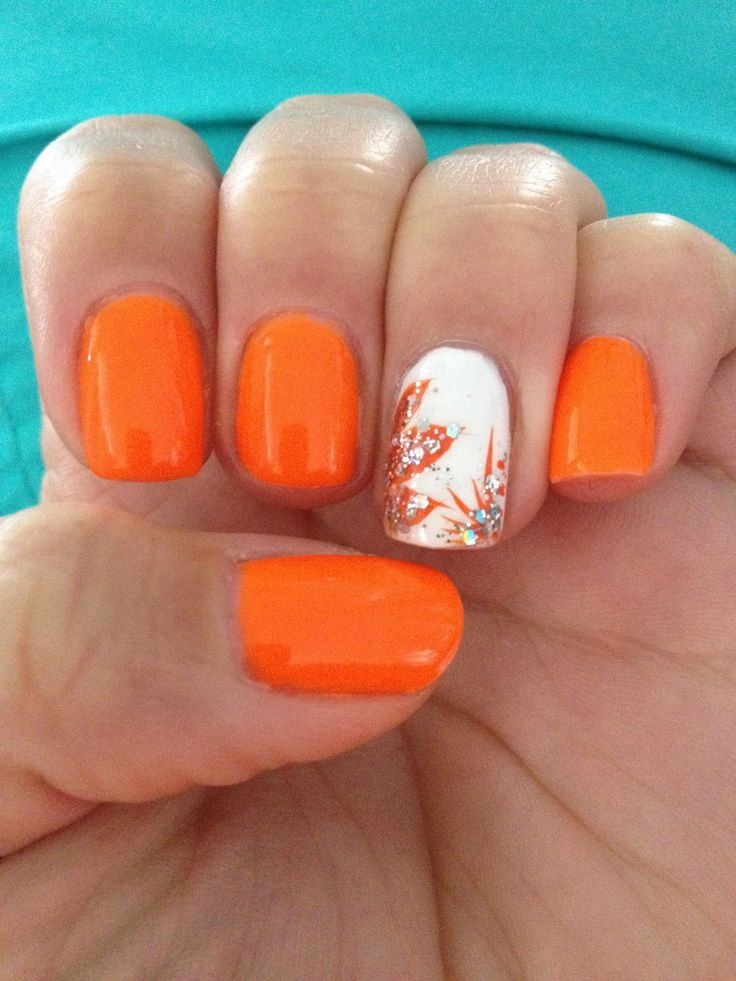 Фото ногтей в оранжевом цвете