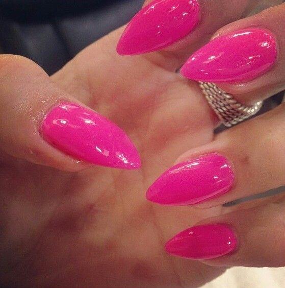 острые розовые ногти гель