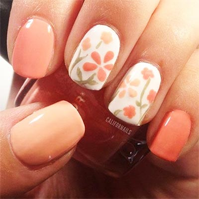 Цветы персиковым лаком