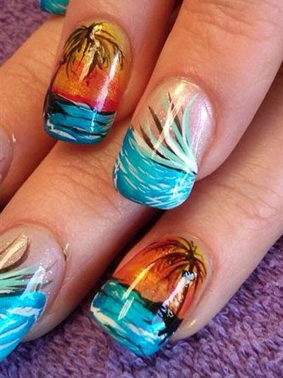 изображения пальм на ногтях