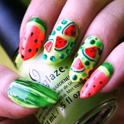 рисунок арбуз на ногтях