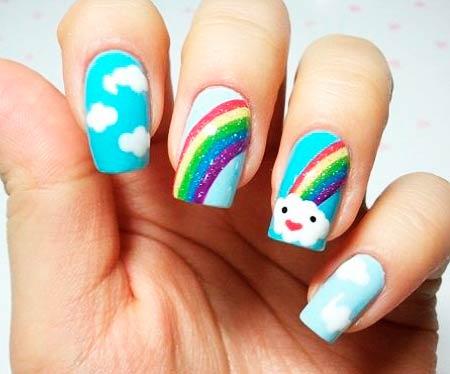 дизайн ногтей радуга и облака фото