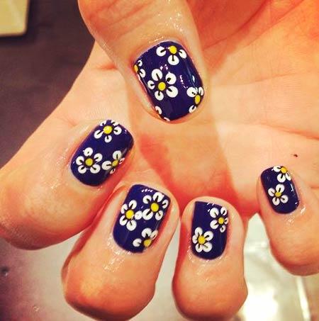 дизайн ромашки на ногтях цветы фото