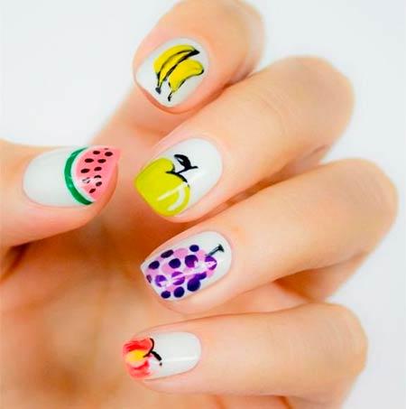 фрукты на ногтях маникюр