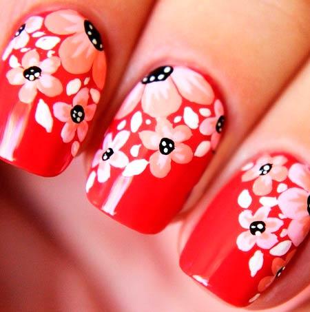 красные ногти красные цветы