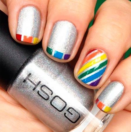 разноцветные ногти маникюр