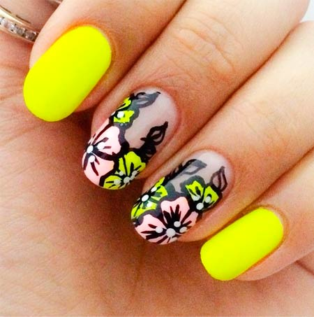 цветочки на ногтях маникюр
