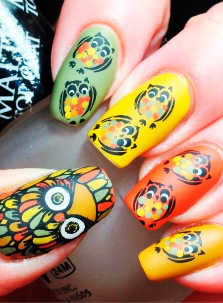 винтажные совы на ногтях