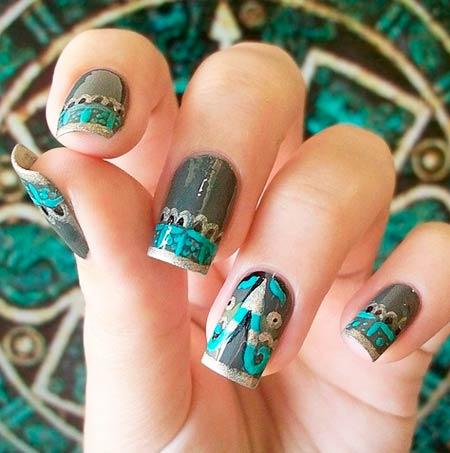 винтажные рисунки на ногтях фото