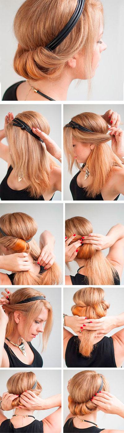 Как сделать причёску греческую с повязкой фото