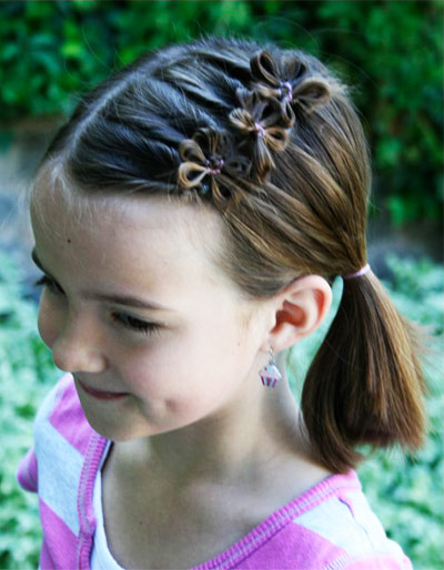 Hairstyles for short hair for girls to school photo