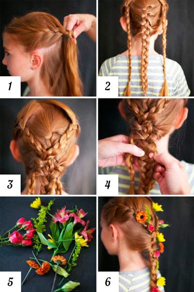 kosa-iz-treh-kos Прически на 1 сентября для девочек с 1 класс по 11 класс, фото