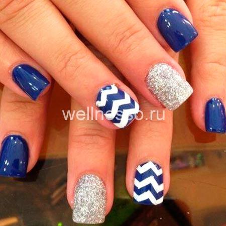 Маникюр в синим цвете на короткие ногти фото