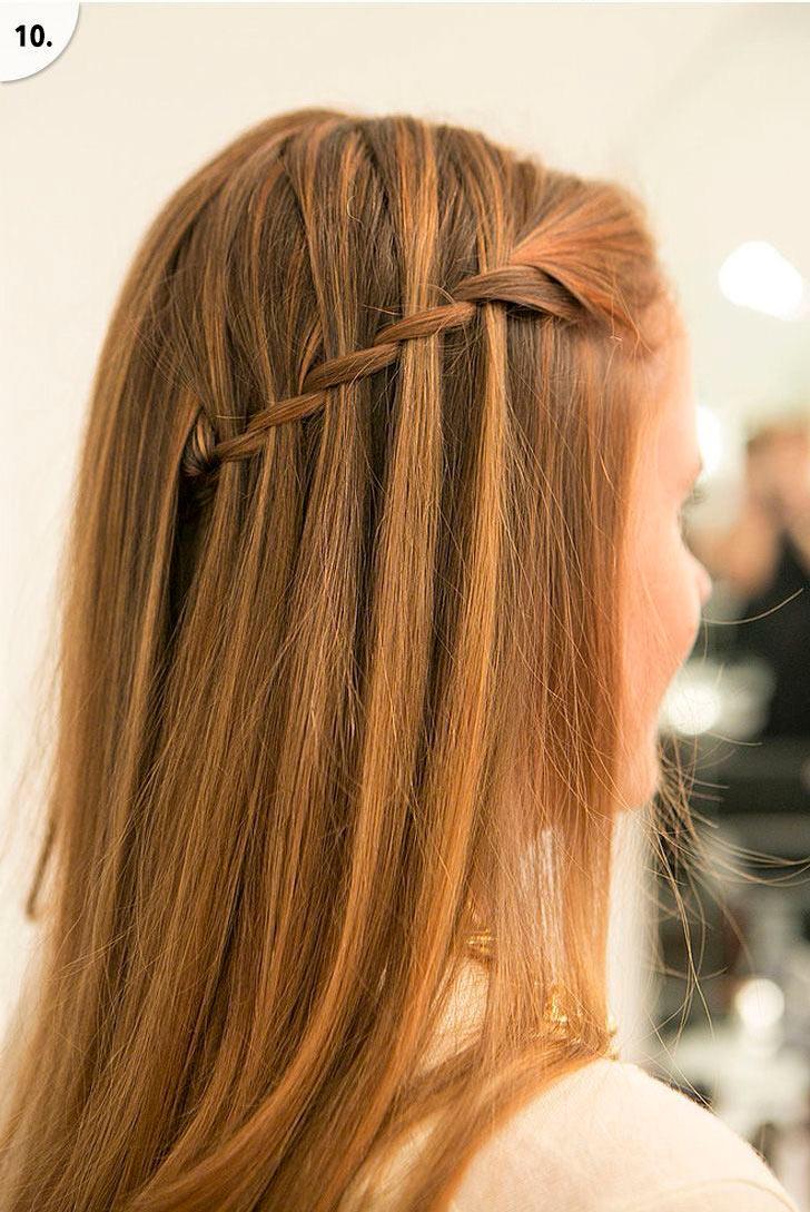 прическа коса водопад