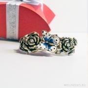 кольцо на два пальца с розами