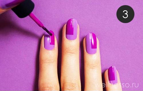 прорисовываем геометрические узоры на ногтях