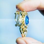серьги гвоздики с синим кристаллом