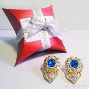 серьги с синим камнем под золото