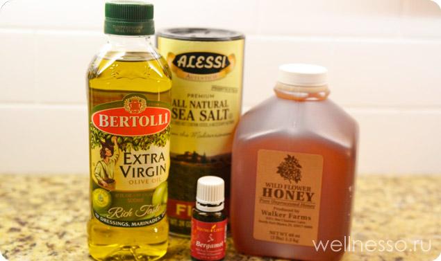 Ингредиенты для скраба из меда и морской соли