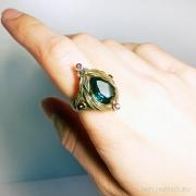 Кольцо с большим бирюзовым камнем