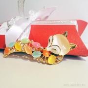 брошь цветная лиса под золото