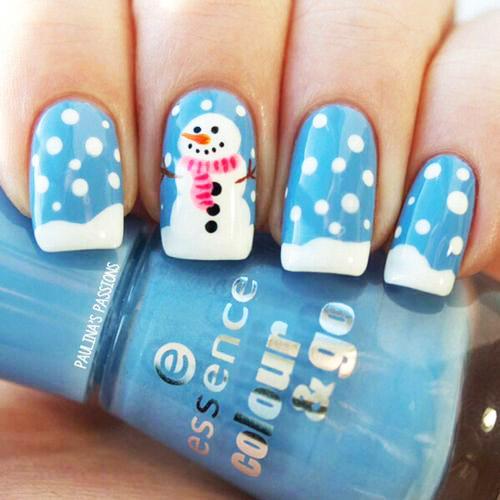 маникюр со снеговикам