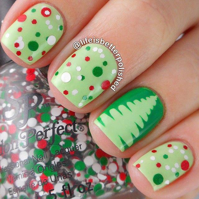 елки зеленые на ногти
