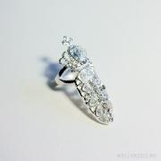 кольцо на ноготь под серебро с кристаллами