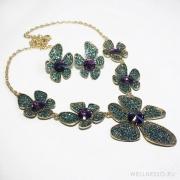 комплект лилово бирюзовый с крупными цветами