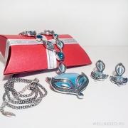 комплект лисы с голубыми камнями в подарочной упаковке