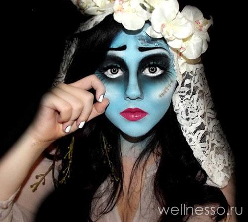 макияж куклы с синим лицом