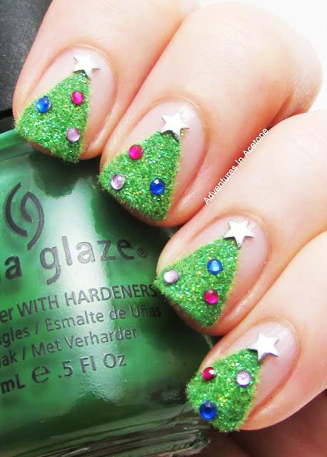 ногти с елочками зеленые